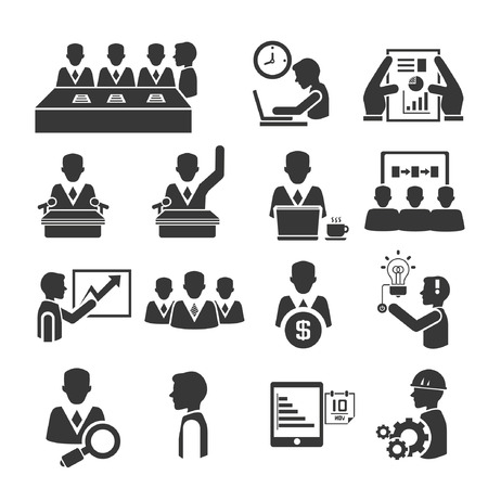 human resource and business management icons set Ilustracja