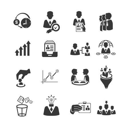 emberi erőforrás és üzleti menedzsment ikonok beállítása Illusztráció