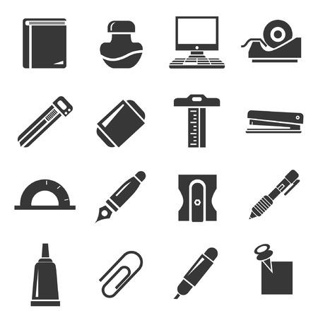 writing tools: stationery icons set