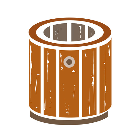 rural wooden bucket: old bucket Illustration
