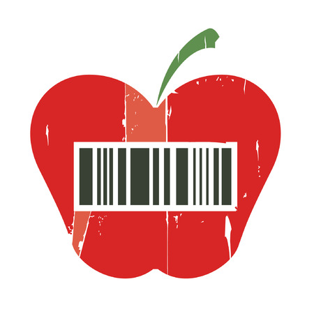 red apple with bar code Stock Vector - 22487992