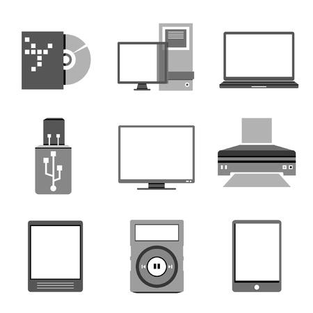 computer set, electronics device Vector