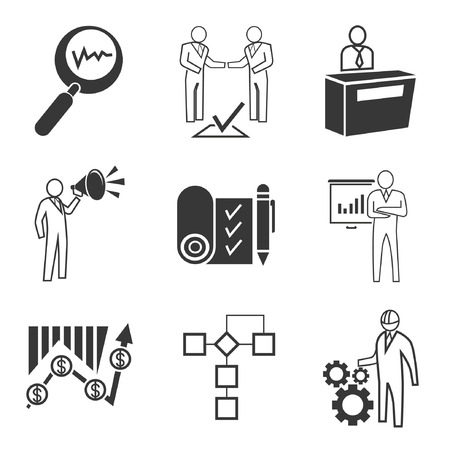 job functions: business management icons Illustration