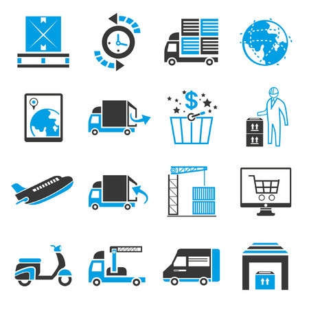 world trade: shipping icon set, blue theme