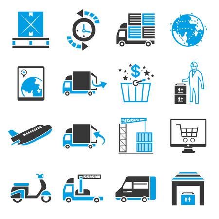 shipping icon set, blue theme