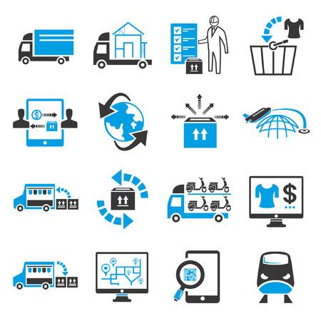 obchod: Přepravní icon set, modrý téma