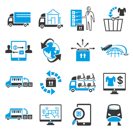 warehouse: shipping icon set, blue theme