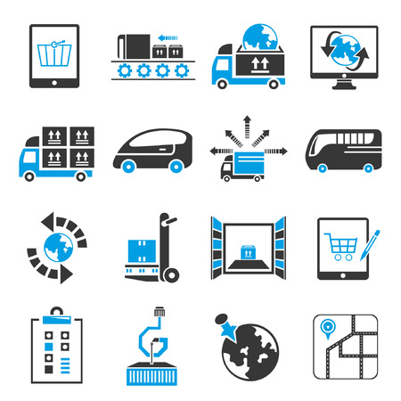 shipping icon set, blue theme Vector