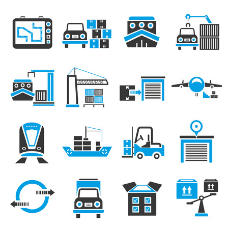 allocate: shipping icon set, blue theme