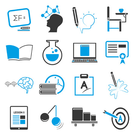 upbringing: education icon set, blue theme