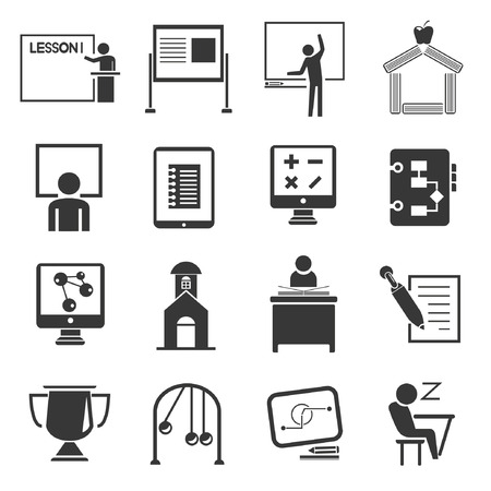 upbringing: education icon set