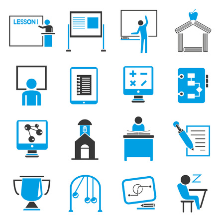 education icon set, blue theme Vector