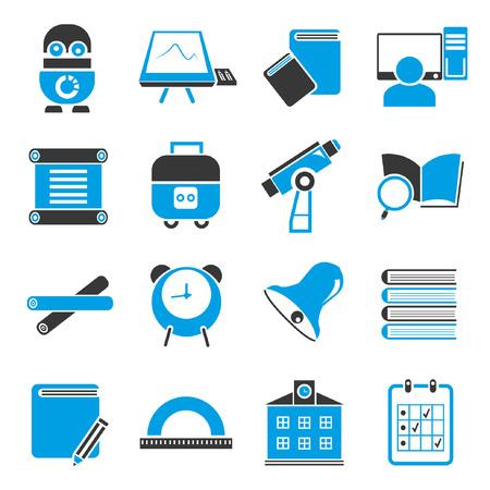 training computer: education icon set, blue theme
