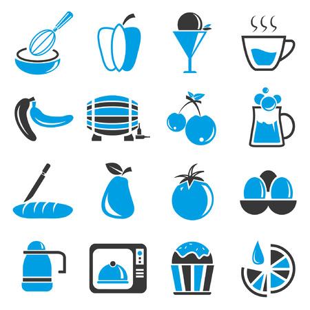 food icon set: food icon set, blue theme