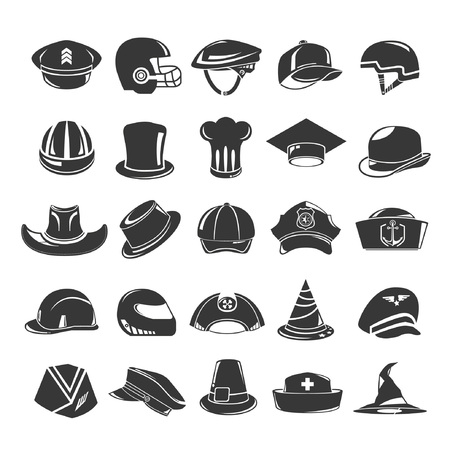 gorra policía: iconos sombrero juego Vectores