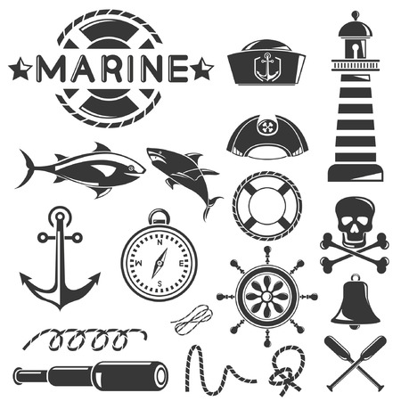 grapnel: marine icons set