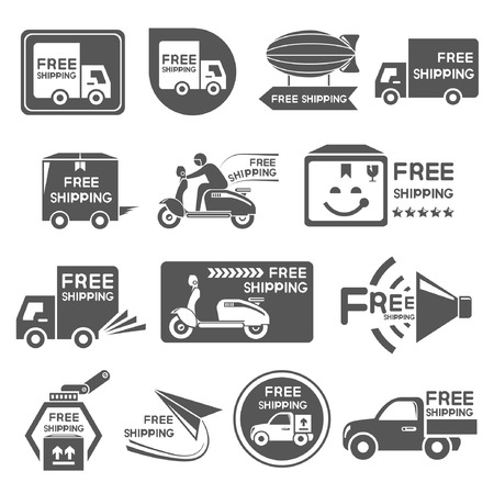hand truck: free shipping label, icons Illustration
