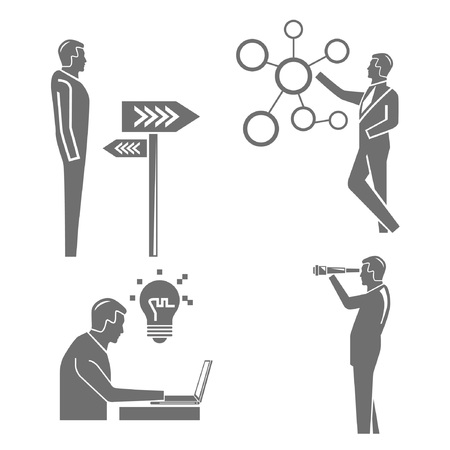 dispense: business man and office people Illustration