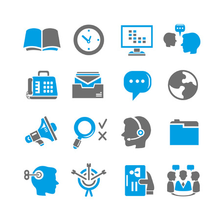 career fair: business and office icon set, blue theme Illustration