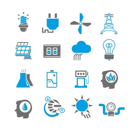 energia ikon készlet, kék téma