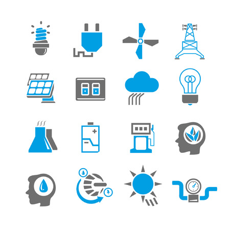 gas icon: energy icon set, blue theme