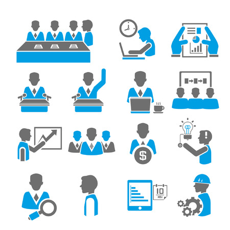 job recruitment: office and business icon set, blue theme Illustration