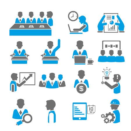 schedules: oficina y negocio conjunto de iconos, tema azul