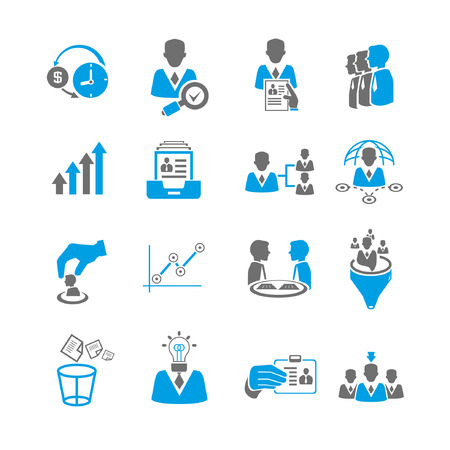 financial consultant: office and business management icon set, blue theme Illustration