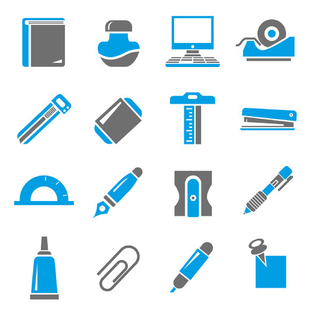 stationery icon set, blue theme Vector