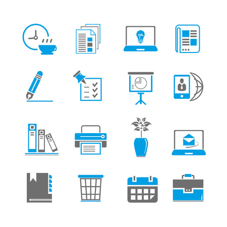 email lists: office icon set, blue theme