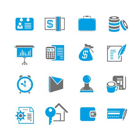 phone money: conjunto de iconos financieros, tema azul