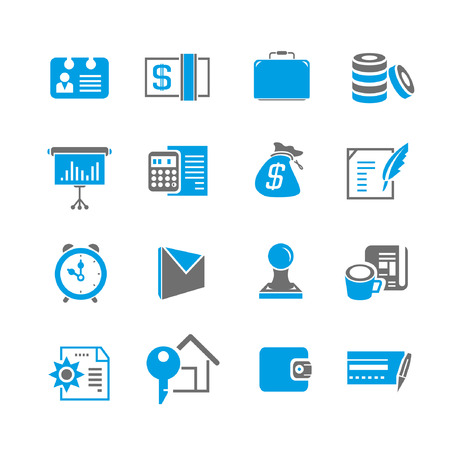 financial icon set, blue theme Vector