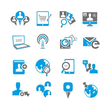 social media icon set, blue theme