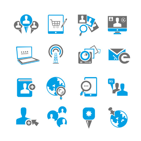 blue network: social media icon set, blue theme