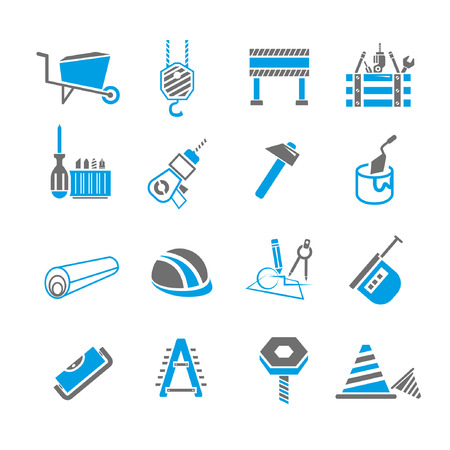 habiliment: construction icon set, blue theme Illustration