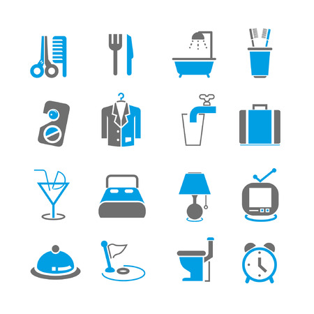 breakfast in bed: hotel icons set, blue theme