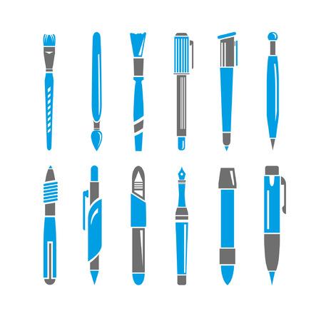 describe: pen icons set, blue theme Illustration