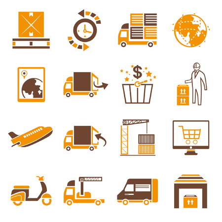 work load: shipping icons set, orange theme Illustration