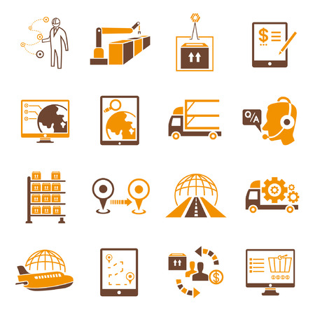 shipping icons set, orange theme Vector