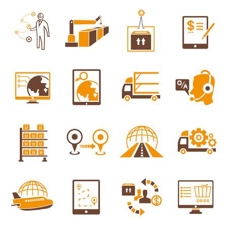 haulage: shipping icons set, orange theme Illustration