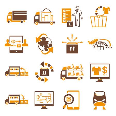 shipment tracking: shipping icons set, orange theme Illustration