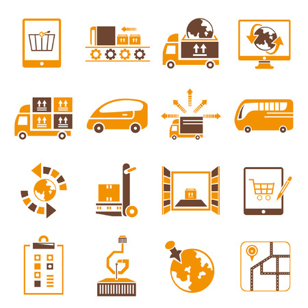relocate: shipping icons set, orange theme Illustration