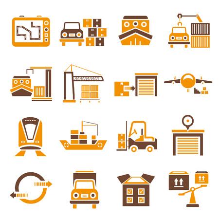 allocate: shipping icons set, orange theme Illustration