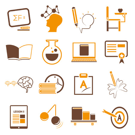 brain storm: education icons set, orange theme Illustration