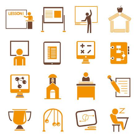 教育のアイコンを設定、オレンジ色のテーマ  イラスト・ベクター素材