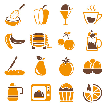 intoxicant: food icons set, orange theme Illustration