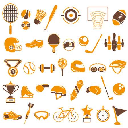 pastimes: sport equipment icons set, orange theme