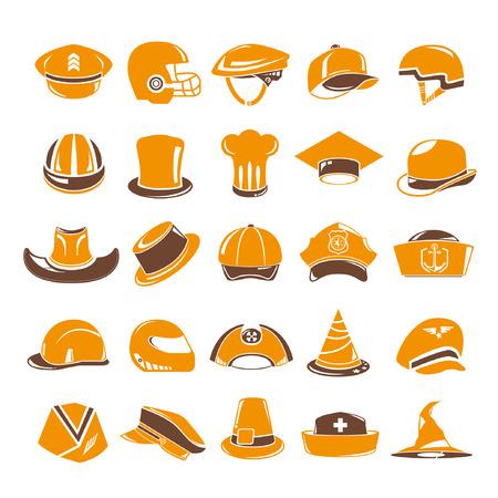 headgear: hat icons set, orange theme