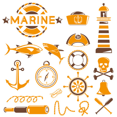 marine icons set, orange theme Vector