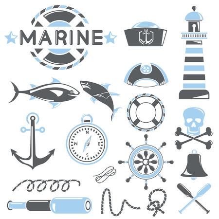 azul marino: conjunto iconos del mar, tema azul